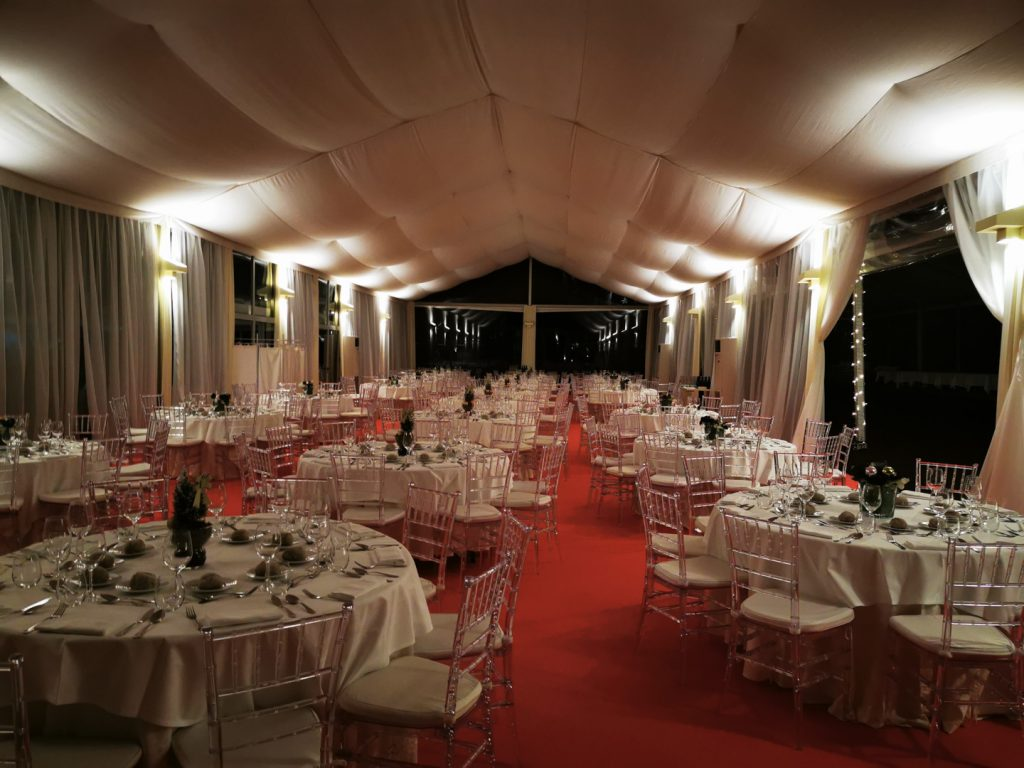 Microbiotec'19 - Sala preparada para o Jantar de Gala na Quinta das Lágrimas, Coimbra